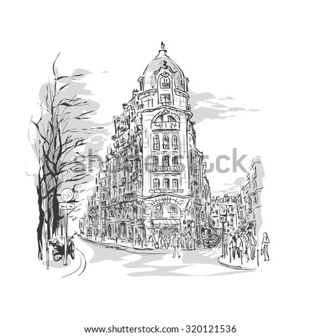 sketch of Parisian street with corner building and walking people, street cafes, trees and  scooter - stock vector