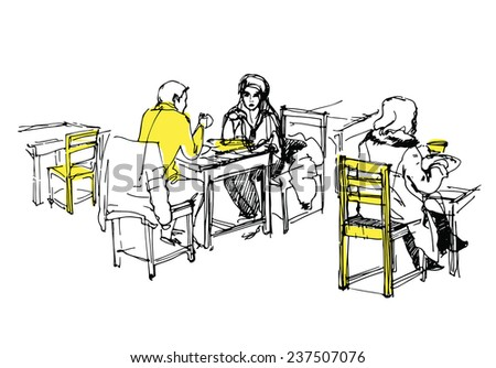 sketch of people having lunch in the cafe - stock vector