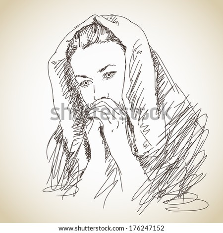 Sketch of praying young woman Vector - stock vector