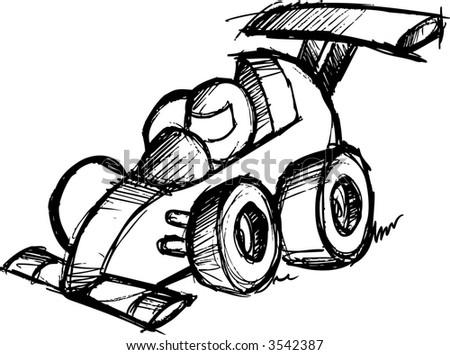 Sketch Of Race Car Vector Illustration