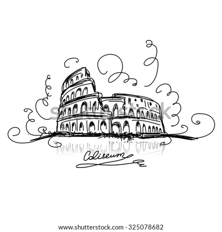 Sketch of Roman Colosseum. Vector illustration - stock vector