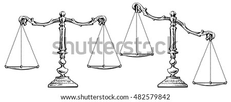 Unbalanced Scale Stock Images, Royalty-Free Images ... Balance Scale Sketch
