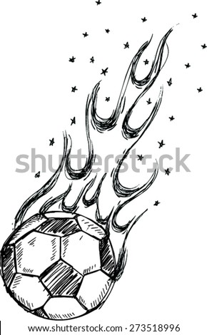 Sketch of  Soccer ball on fire - stock vector