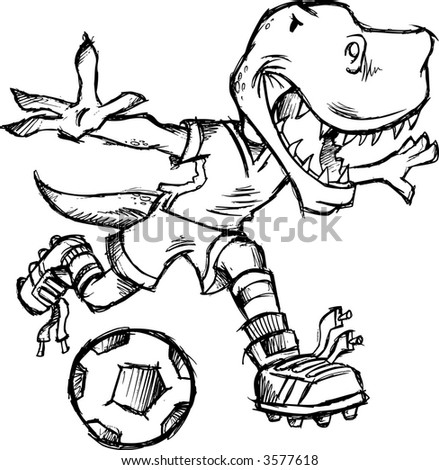 Sketch of Soccer dinosaur Vector Illustration