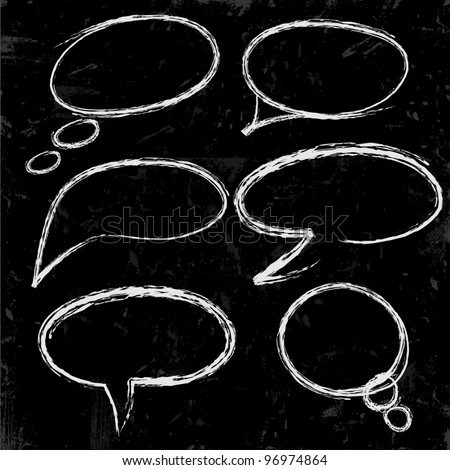 Sketch of speech bubbles chalked on black - stock vector