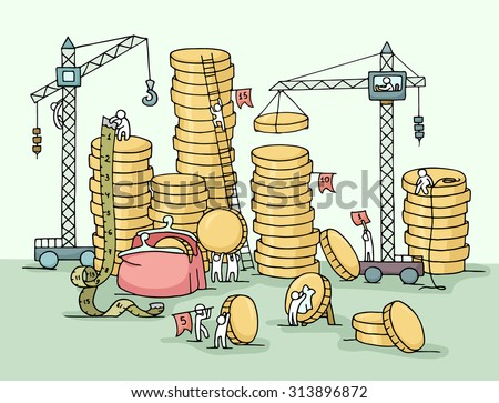 Sketch of stack of coins with working little people, crane, purse. Doodle cute miniature of construction golden coins and preparing for the big profit. Hand drawn cartoon vector for business design. - stock vector