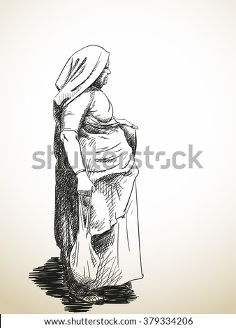 Sketch of standing old woman wrapped in sari, Hand drawn illustration - stock vector