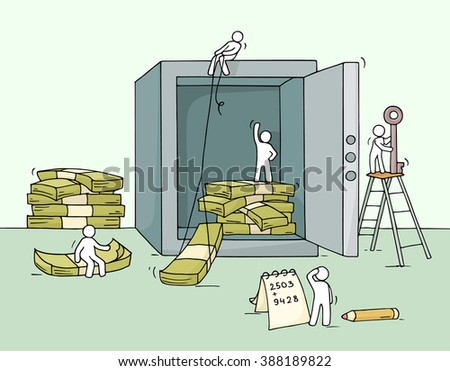 Sketch of stored money in the safe with working little people. Doodle cute miniature of economy cash, dollars. Hand drawn cartoon vector illustration for business design and infographic. - stock vector