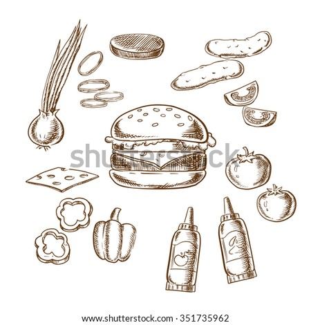 Sketch of tasty burger with tomato, pepper, onion, beef patty, cucumber, mustard, ketchup and cheese ingredients - stock vector