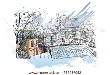 Sketch Of Tbilisi Old Town Architecture On Hill With Colored House Balcony Vector Hand