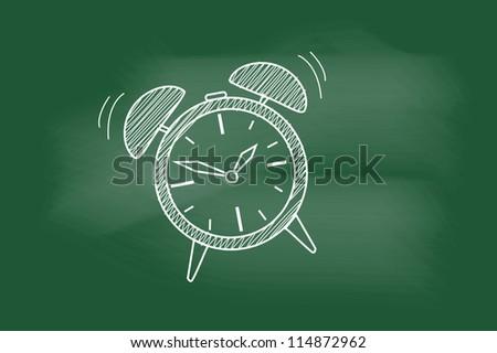 sketch of the alarm clock on blackboard - stock vector