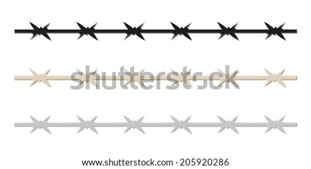 sketch of the barbed wire, isolated, vector - stock vector