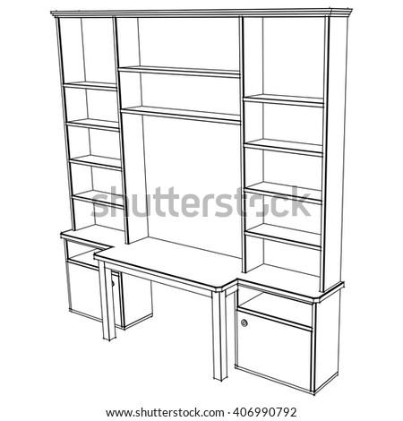 Display Stand Shelf Blueprint Layout Stock Vector