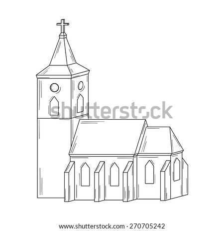 sketch of the church on white background, isolated - stock vector