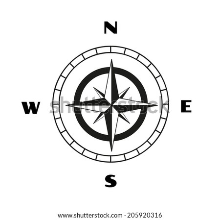 sketch of the compass on white background, vector, isolated - stock vector