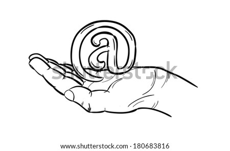 sketch of the e-mail sign in hand, isolated - stock vector