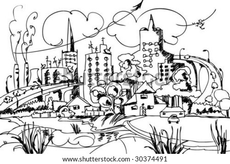 sketch of the happy modern city Please, SEE COLOR VERSION - stock vector