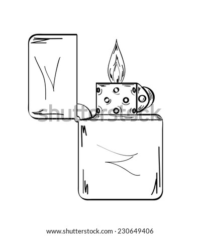 sketch of the lighter with flame on white background, vector, isolated - stock vector