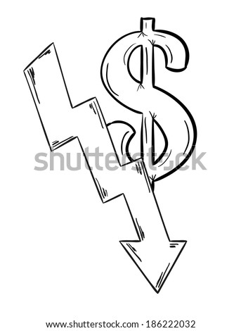 sketch of the money decreasing with dollar symbol - stock vector