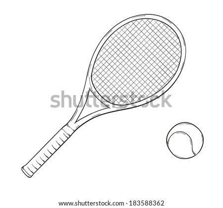 sketch of the tennis racket and ball, isolated