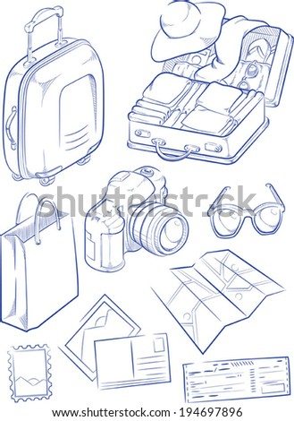 Sketch of Travel Object & Symbol - stock vector