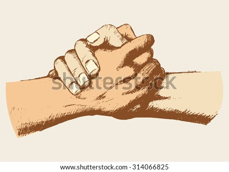 sketch two clasped hands stock vector royalty free 314066825 rh shutterstock com Hand Outline Vector Hand Silhouette Vector