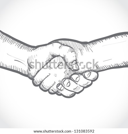Sketch of two shaking hands - stock vector