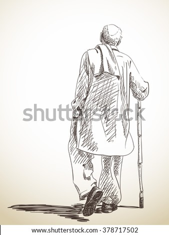Sketch of walking old man, Hand drawn illustration - stock vector