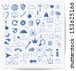 Sketch of web design icons hand drawn with pen. Vector illustration.  - stock