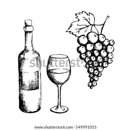 Sketch wine bottle glass grapes stock vector 549991015 for How to draw on wine glasses