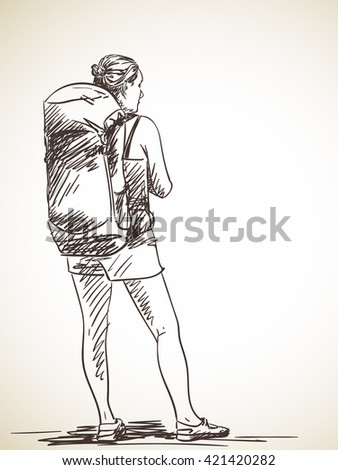 how to draw a backpack on a person