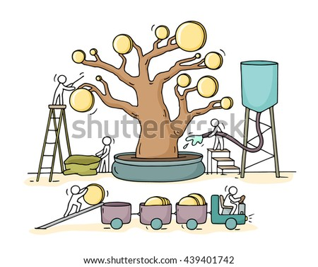 Sketch of working little people harvest a money tree with golden coins. Doodle cute miniature with workers collect money and preparing for the big profit.Hand drawn cartoon vector for business design. - stock vector