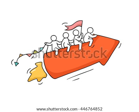 Sketch of working little people with arrow, teamwork. Doodle cute miniature scene of workers. Hand drawn cartoon vector illustration for business design and infographic. - stock vector