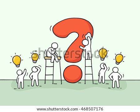 stock vector sketch of working little people with big question and lamp ideas doodle cute miniature scene of 468507176