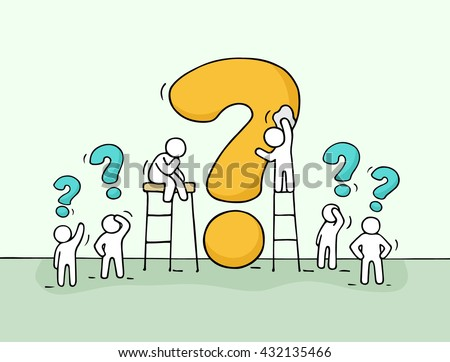 Sketch of working little people with big question. Doodle cute miniature scene of workers trying to solve problem. Hand drawn cartoon vector illustration for business design. - stock vector