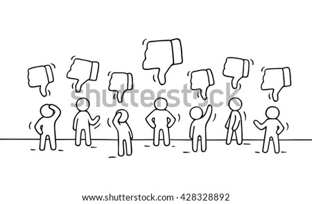 Sketch of working little people with dislike signs. Doodle cute miniature scene of workers. Hand drawn cartoon vector illustration for business and web design. - stock vector