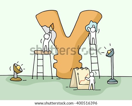 Sketch of yen sign with working little people. Doodle cute miniature of construction yen and preparing for the big profit. Hand drawn cartoon vector illustration for business design. - stock vector