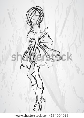 Sketch of young beautiful fashionable girl on grey background.  - stock vector