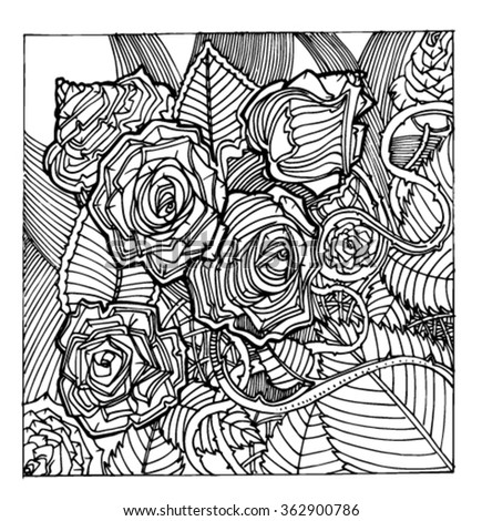 Sketch patterns of flowers. Flowers in the style of doodle. Roses from patterns