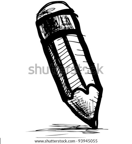 Sketch pencil icon in doodle style - stock vector
