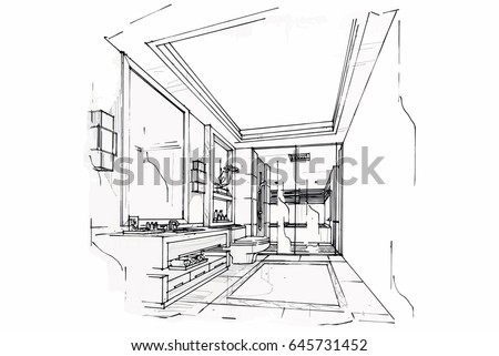 Sketch Perspective Interior. Drawing Pen With Pencil Black And White Interior  Design. Vector Sketch