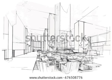 sketch perspective interior drawing pen with pencil black and white interior design vector sketch - Interior Design Sketches
