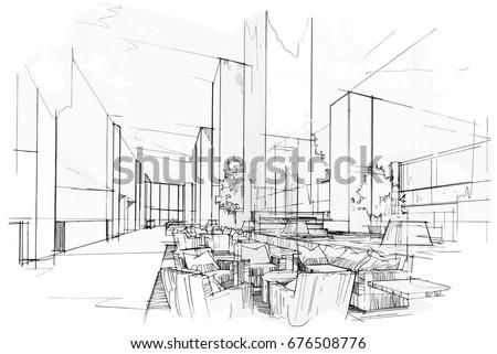 sketch perspective interior drawing pen with pencil black and white interior design vector sketch - Interior Design Sketches