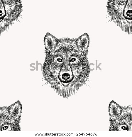 Sketch realistic face Wolf seamless pattern. Hand drawn vector  illustration in Doodle style. Engraving sketch for tattoos. - stock vector