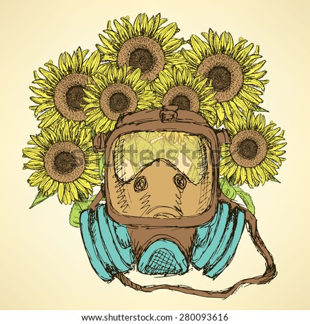 Sketch respiratory mask with sunflower in vintage style, vector - stock vector