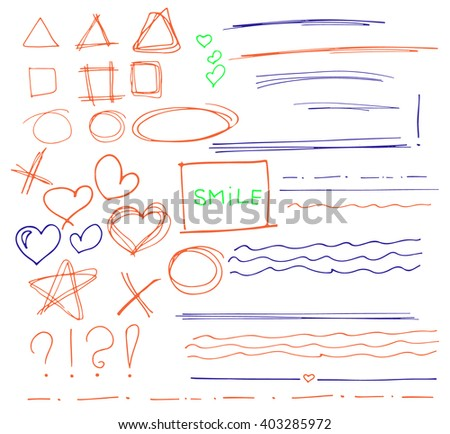 Sketch  set of  colorful vector hand drawn arrows, circles, hearts and abstract doodle, text correction and highlighting elements on white background.  Doodles for design. writing design vector set.  - stock vector