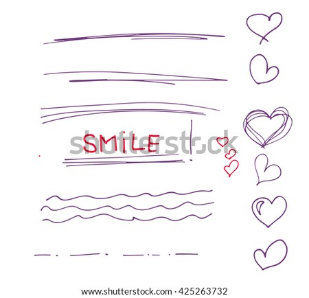 Sketch  set of  colorful vector hand drawn arrows, circles, hearts and abstract doodle, text correction and highlighting elements on white background.  Doodles for design. writing design vector set - stock vector