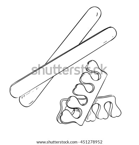 Sketch set of cosmetic products for nail care. Vector illustration - stock vector