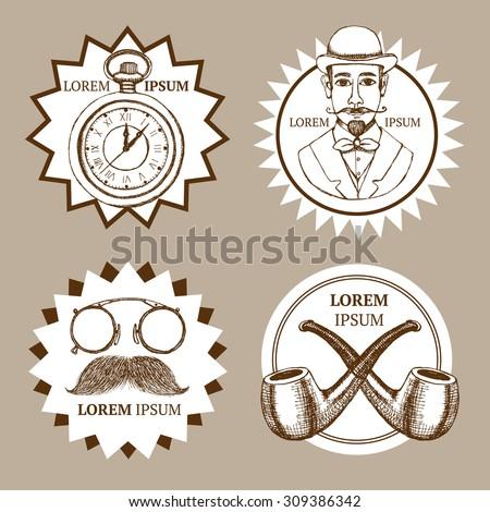 Sketch set of gentleman's logotypes in vintage style, vector - stock vector
