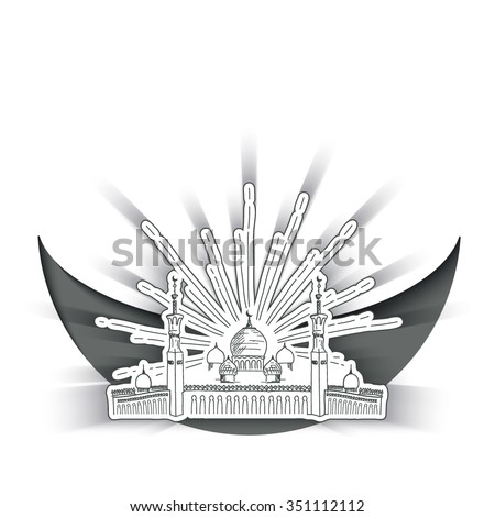 Sketch Silhouette of mosque with minarets on moon Crescent. Concept for Islamic Muslim holiday for celebration Mawlid birthday of prophet Muhammad, holy month of Ramadan Kareem, Eid Mubarak - stock vector